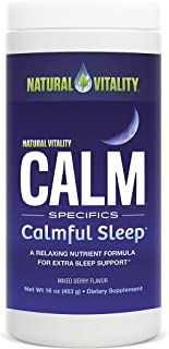 Natural Vitality Natural Calm Calmful Sleep Magnesium Anti Stress Extra Sleep Support, Mixed Berry, 16 oz