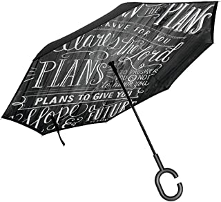 CHELSEAHUMPHRIES Vintage Bible Verse Scripture Quotes Psalms Sayings OnAutomatic Open Umbrella Inverted Folding Umbrella Windproof UV Protection Rainproof Outdoor Car with C Handle