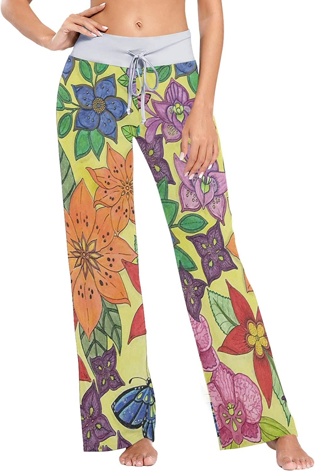 MSACRH Pajama Pants for Max 60% OFF Women Pa Safety and trust Flower Sleepwear Butterfly