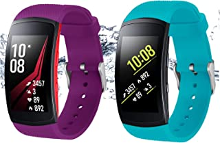 Bands for Samsung Gear Fit 2 Band/Gear Fit 2 Pro[2-Pack: Teal Green+Purple], Rukoy Replacement Straps Accessories for Samsung Gear Fit2 Pro SM-R365/ Gear Fit2 SM-R360 Smartwatch (5.9