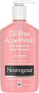 Neutrogena Oil-Free Salicylic Acid Pink Grapefruit Pore Cleansing Acne Wash and Facial Cleanser with Vitamin C, 9.1 fl. oz