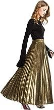 Romwe Women's Metallic Shiny Shimmer Accordion Pleated Long Maxi Skirt