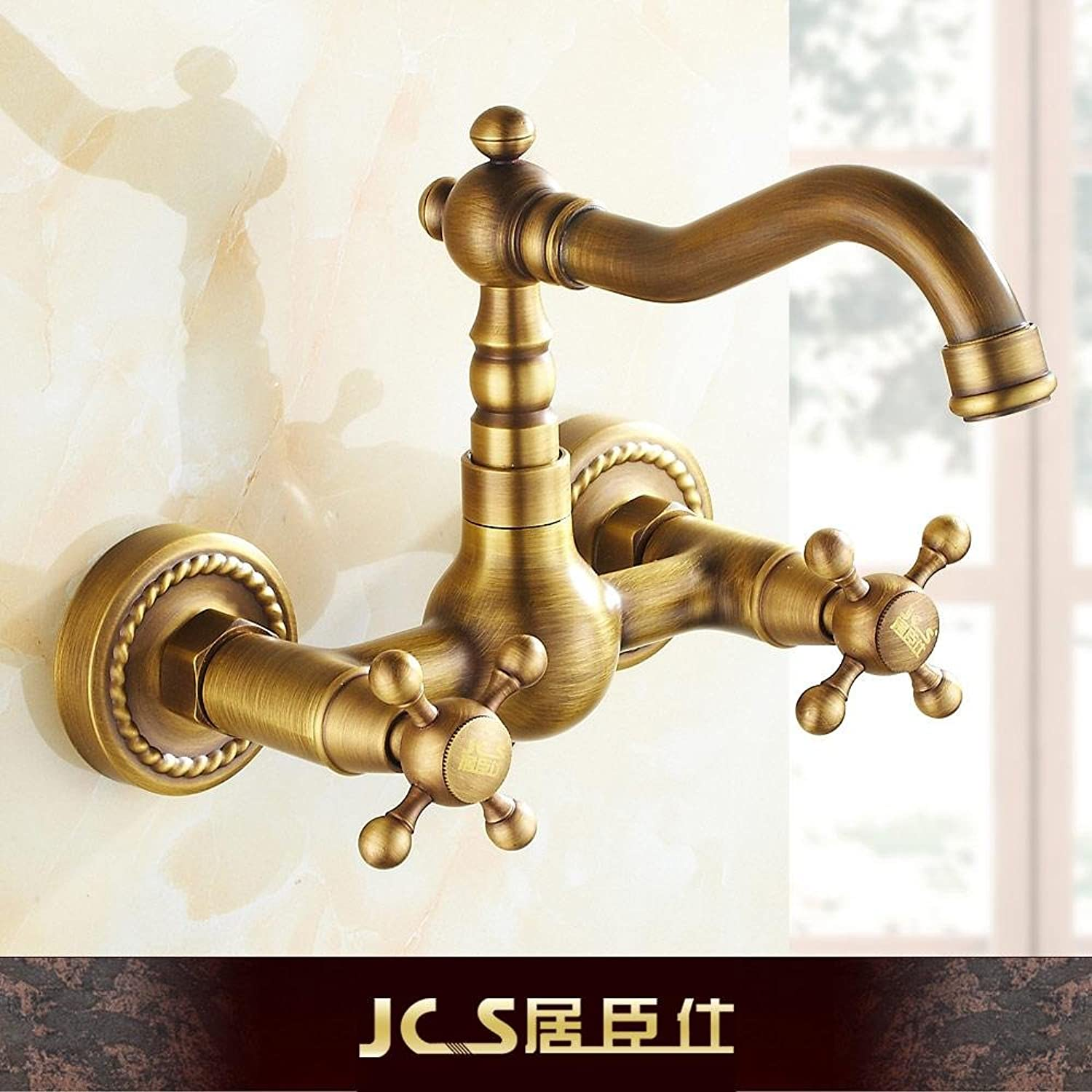 Lalaky Taps Faucet Kitchen Mixer Sink Waterfall Bathroom Mixer Basin Mixer Tap for Kitchen Bathroom and Washroom Antique Wall-Mounted Hot and Cold Copper Double-Walled Wall Can Be redated