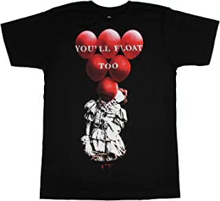 Bioworld IT Pennywise Red Balloons You'll Float Too Adult T-Shirt