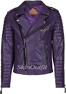 SKINOUTFIT Men's Leather Jackets Motorcycle Biker Genuine Lambskin Leather Jacket Purple