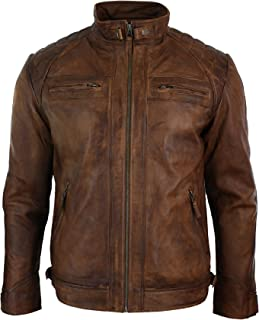 Mens Retro Style Zipped Biker Jacket Real Leather Soft Black Casual