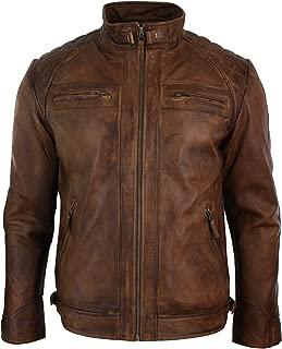 Nouveau Homme véritable peau d/'agneau Veste en cuir marron clair Coupe Slim de motard Veste Moto