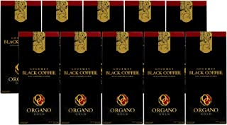 Black Coffee with 100% Certified Ganoderma Lucidium Organo Gold Free 6 Sachets Nugano Black Coffee Lower Caffeine <2.25%, No Anxiety (10 Boxes)