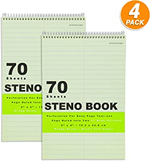 Emraw Green Tint Steno Book 80 Sheets Wire Binding Gregg Ruled Meeting Notebook Durable Laminated Cover Assorted Color Wire Bound Double Sided Paper Small Notebook (Pack of 4)