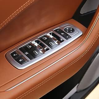 YUECHI Car Door Window Lift Switch Button Trim Accessories For Maserati Levante 2016 2018 Ghibli 2014-2016 Quattroporte 2013-2016 (Matte Silver)