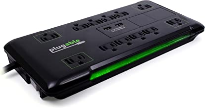 Plugable Surge Protector Power Strip with USB and 12 AC Outlets, Built-in 10.5W 2-Port USB Charger for Android, Apple iOS, and Windows Mobile Devices, 25 Foot Extension Cord