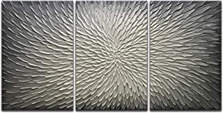 Amei Art Paintings,20x30Inch 3Panel 3D Hand-Painted On Canvas Abstract Artwork Art Wood Inside Framed Hanging Wall Decoration Abstract Painting (Gray)
