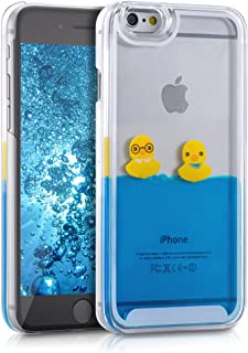 kwmobile hardcase Cover for Apple iPhone 6 / 6S with Liquid - hardcase backcover Protective case Water with Rubber Ducks in Yellow/Blue/Transparent