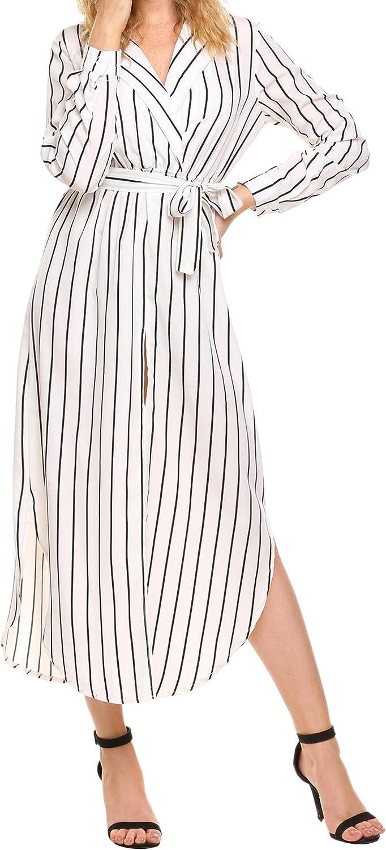 UNibelle Women's Casual Waist Tie Denver Mall Loose Long Split Sleeve Large-scale sale Front
