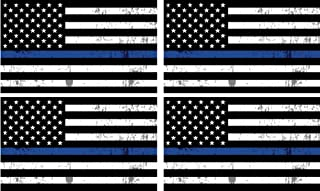 4 Pack Thin Blue Line Blue Lives Matter Flag Sticker Car Truck Decal Gift Support Police Officers Law Enforcement 5x3 Inch