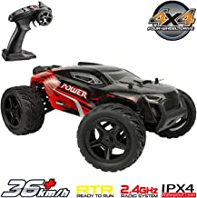 Hosim All Terrain Waterproof Rc Cars 1:16 4WD Monster Truck, High Speed 36+ kmh 2.4Ghz Electric Remote Control Car , Off-Road RC Buggy RC Toys Trucks for Kids and Adults(Red)