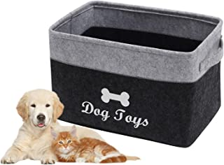 Brabtod Felt pet Toy Box Accessory Storage Bin with Handles, Organizer Storage Basket for pet Toys, Blankets, leashes and ...
