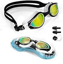 TOPLUS Zwembril, zwemmasker met neusklemmen, oordopjes, zachte siliconen, anti-condens, 100% uv-bescherming, voor volwasse...