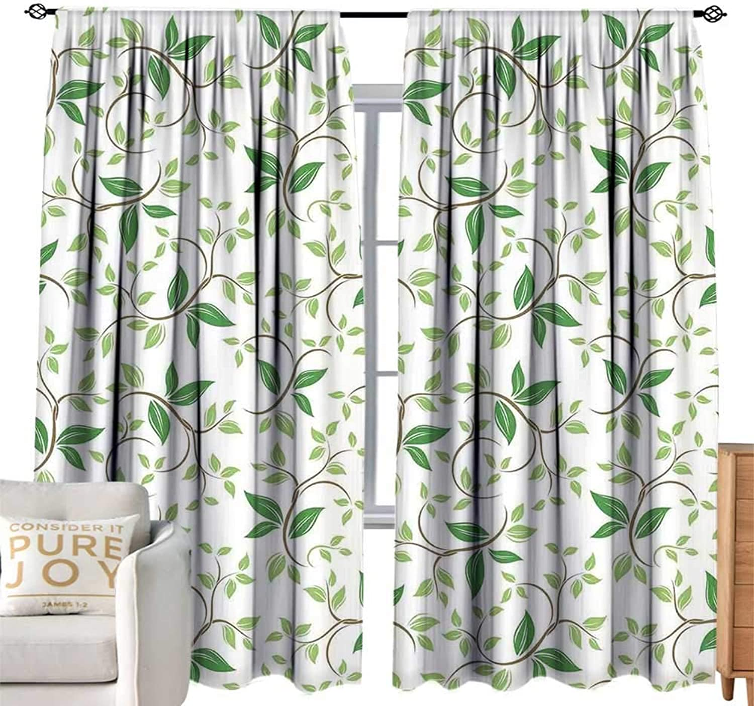 CobeDecor Kids Room Curtains Leaves Ivy Patterns with Tiny Fancy Green Leaves Branches Creme Contemporary Illustration Green Brown Simple Style W108 xL84
