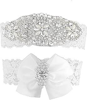 Vintage Bridal Garter Set Lace Wedding Garters For Bride White Bow Rhinestones