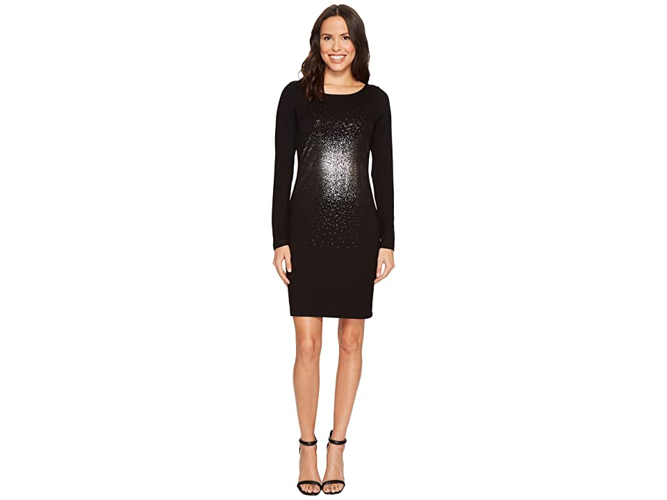 Karen Kane Metallic Ombre Sheath Dress (Black/Silver) Women