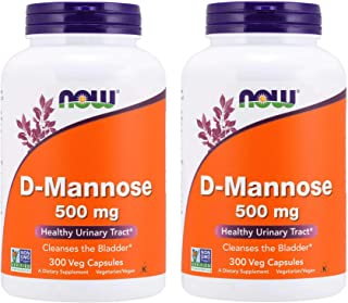 Now D-Mannose 500mg, 300 Capsules (Pack of 2) - Vegan, Non-GMO