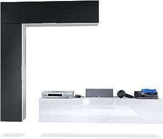 Mueble de Pared Taurito Cuerpo en Blanco Mate/frentes en Blanco de Alto Brillo y Negro Mate