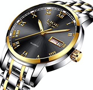 LIGE Watches Men Waterproof Stainless Steel Analogue Quartz Business Date Black Gold Wrist Watch for Man