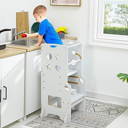 ADORNEVE Kitchen Helper Stool for Kids Height Adjustable Toddler Kitchen Stool,Kitchen Step for Toddler,White