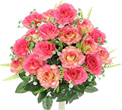 Admired By Nature ABN1B002-PNK Artificial Rose Flower Bush, Pink