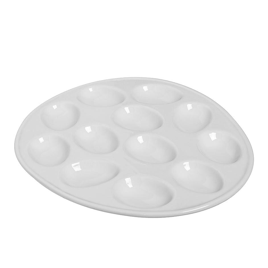 Kitchen Supply 8020 White Porcelain Egg Plate