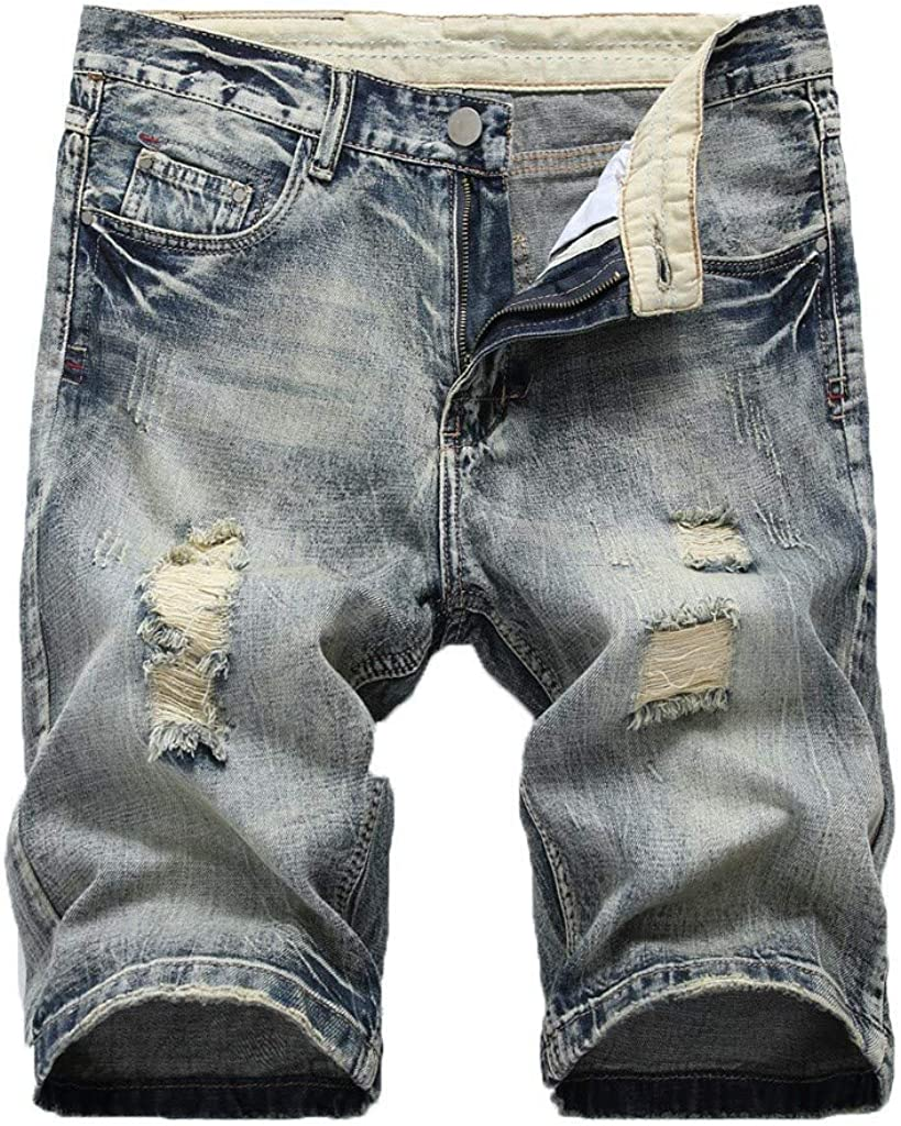Denim Shorts Forthery Mens Stretch Denim Short Ripped Distressed Jeans Pants Jean Short with Hole Cargo Shorts