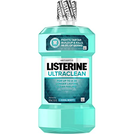 Listerine Ultraclean Oral Care Antiseptic Mouthwash to Help Fight Bad Breath Germs, Gingivitis, Plaque and Tartar, Oral Rinse for Healthy Gums & Fresh Breath, Cool Mint Flavor, 500 mL