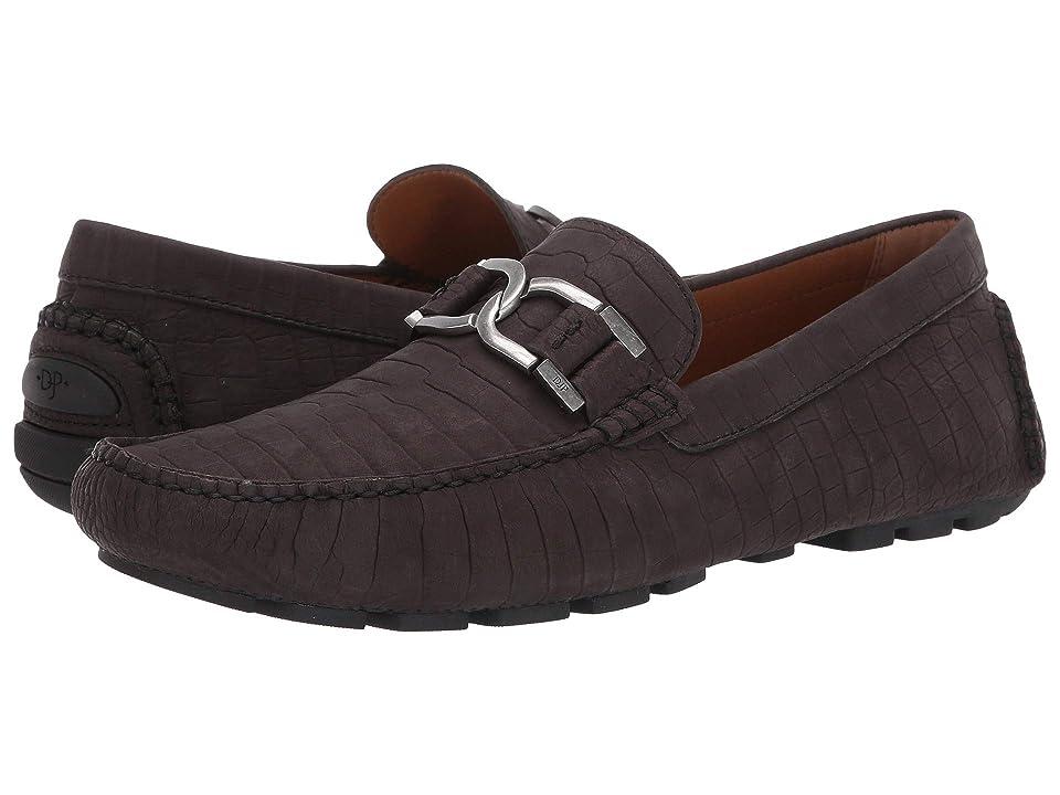 Donald J Pliner Derrik (Black Croco Distressed Nubuck) Men's Slip-on Dress Shoes, Brown