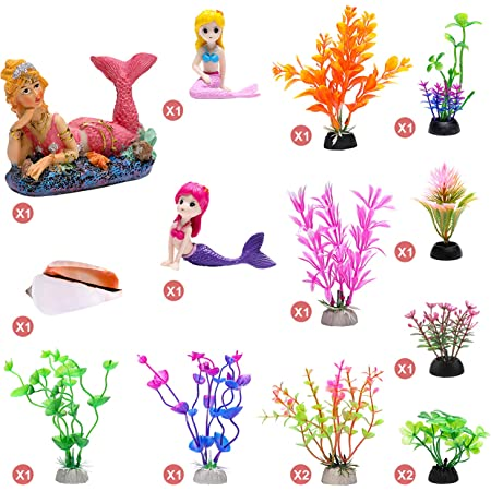 Blue Ribbon EE-102 Pet Products Exotic Environments Mermaid with Treasure Aquarium Ornament