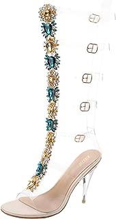 Women's Summer Boot Knee High Sandal Rhinestone Gladiator Sandals Transparent Strappy Stiletto High Heels