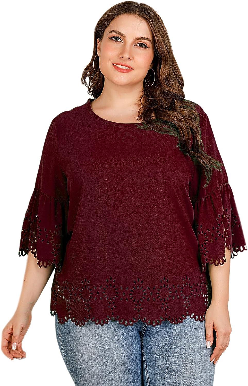 Floerns Women's Plus Size Scalloped Round Neck Half Sleeve Blouse Shirt Tops