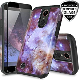 TJS Case for LG K20 Plus/LG K20 V/LG Harmony/LG Grace 4G LTE, with [Full Coverage Tempered Glass Screen Protector] Slim Hybrid Shockproof Impact Rugged Marble Case Armor Phone Cover (Stardust)