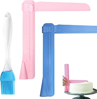 Adjustable Cake Scraper, Cake Scraper Smoother Tool Sets, and Silicone brush. Made From 100% Food Grade Materials, Safety in Use, Easy to Use (2 Pack Adjustable Cake Scrape, 1 Pack Silicone Brush)