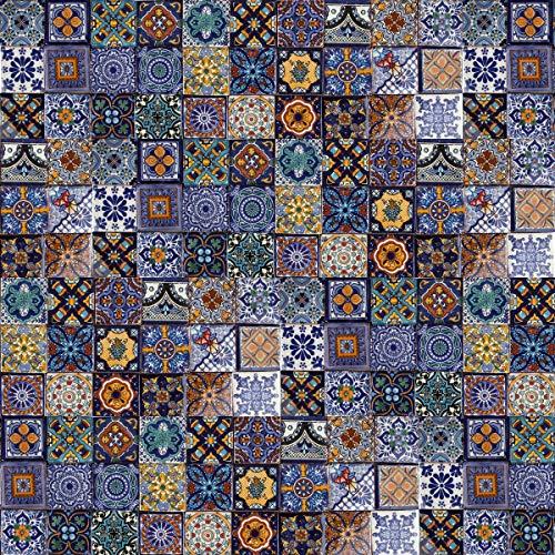 Cerames - Tonito - Azulejos decorativos de colores de la pared, mexicano, diseño de mosaico, para cuarto de baño y cocina, 5x5 cm, 120 piezas por paquete