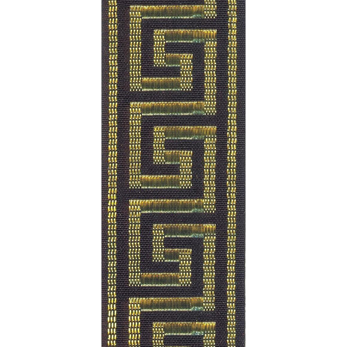 Offray Greek Key Craft Ribbon, 7/8-Inch Wide by 10-Yard Spool, Black with Metallic Gold