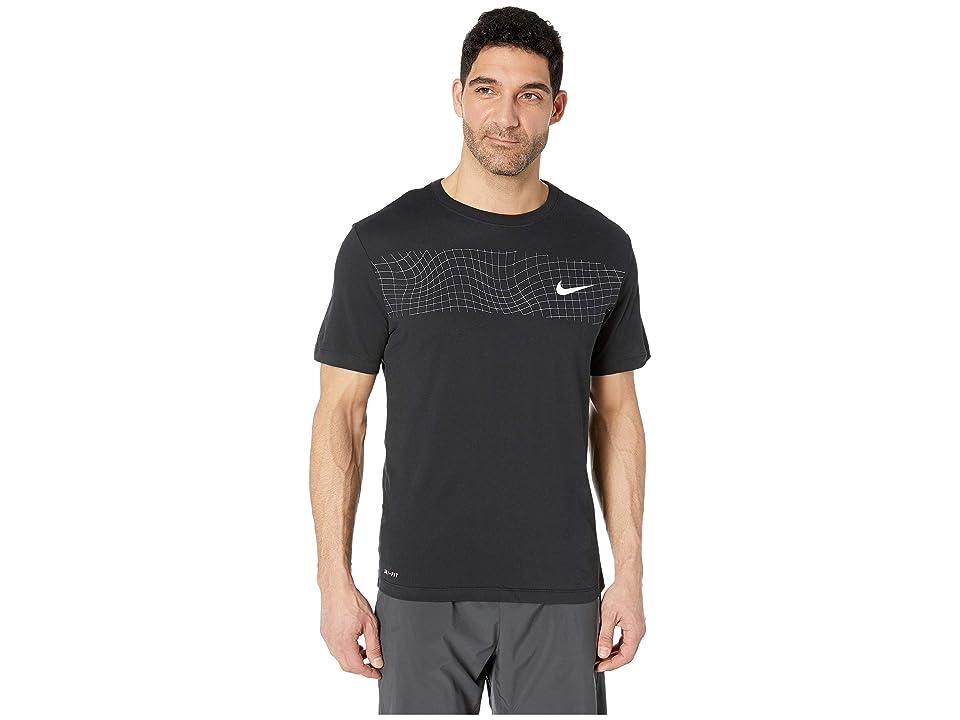 Nike Dry Tee Dri-FITtm Cotton Grid Bar (Black/White) Men