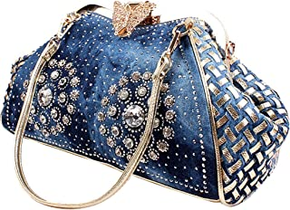 Coofit Adult Denim Blue Knitted Top Handle Handbags With Shiny Rhinestone Large Blue
