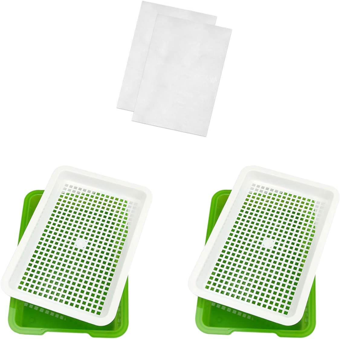 Seed Sprouter Tray, 2 Pack Seed Germination, Wheatgrass Cat Grass Microgreens Growing Kit, Great for Garden Home Office (2 Set(12.8