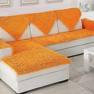 SVIO-SOFACOVER Plush Chenille Sofa Slipcover Orange Couch Cover Anti-Slip Furniture Protector Winter Warm Sofa Cover,35