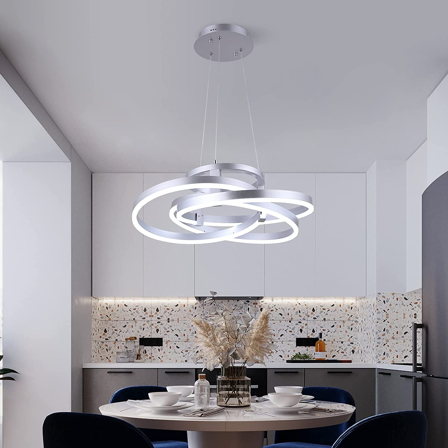 Maxax LED 3 Ring Chandelier Acrylic Pendant 67% OFF of fixed price Denver Mall Modern Indus Light