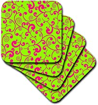 3dRose CST_110744_2 Elegant Lime Green and Pink Scroll Design-Soft Coasters, Set of 8