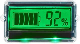 DROK DC8-63V Digital Battery Capacity Tester Indicator, Two Wires 12V/24V/36V/48V Lead Acid Battery Monitor with Protective Shell Green LCD Display