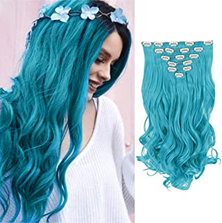 Queentas 20Inch 8 Pcs Wavy Curly Full Head Party Highlights Clip on in Hair Extensions Colored Synthetic Hairpieces Baby Blue