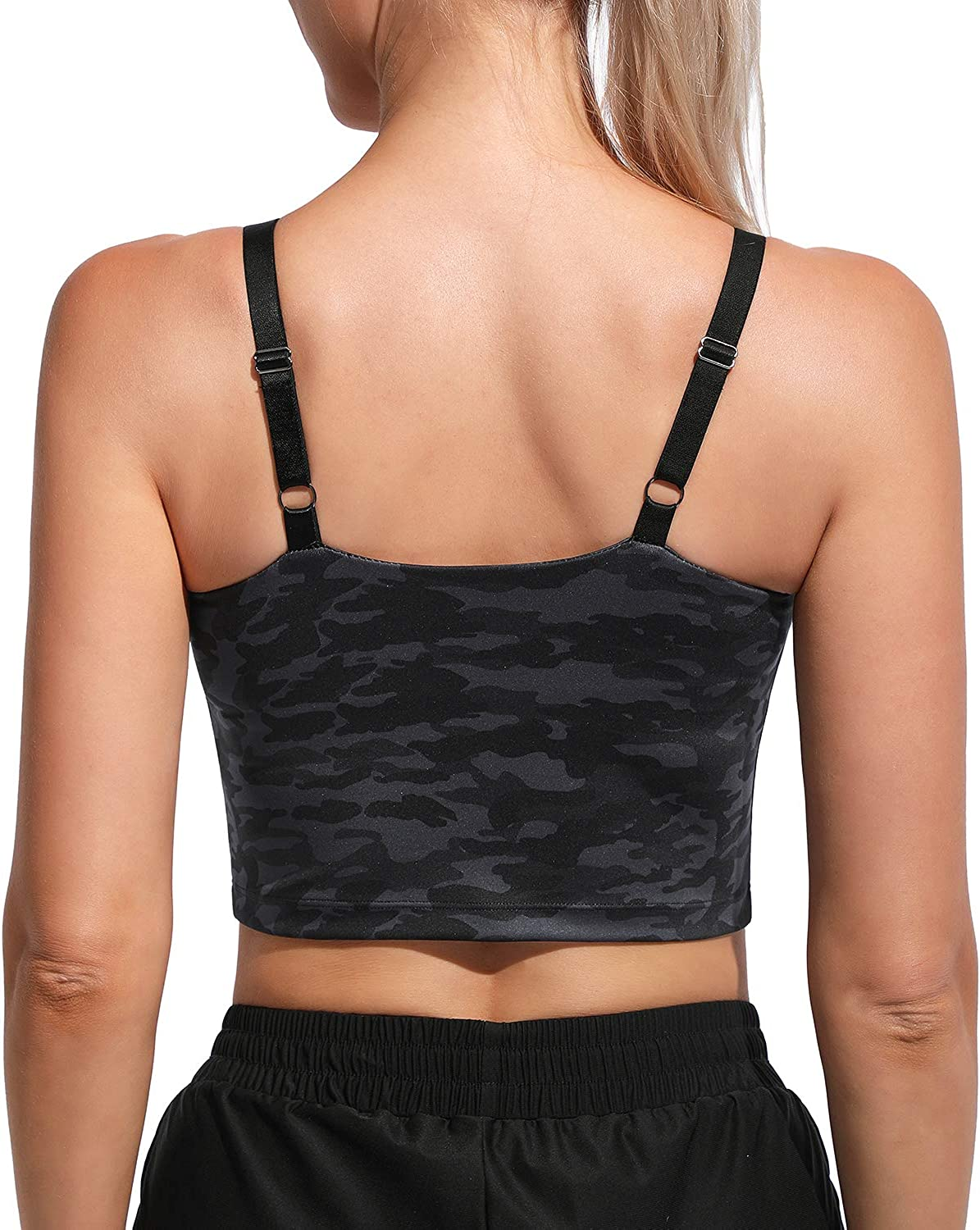WALK FIELD Women Adjustable Sports Bras - Padded Cami Crop Tops for Workout Yoga Fitness